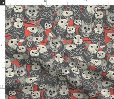 Knitting Rodent Mouse Coral Hat Kids Spoonflower Fabric By The Yard • 20.37£