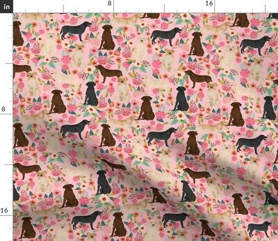 Labrador Pink Florals Cute Dogs Yellow Lab Golden Spoonflower Fabric By The Yard • 14.70£