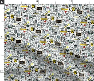 School Pen Graffiti Doodle 80S Kids Typography Fabric Printed By Spoonflower BTY • 15.78£