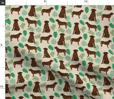 Chocolate Lab Labrador Retriever Monstera Spoonflower Fabric By The Yard • 14.70£