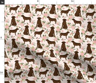 Labrador Retriever Chocolate Lab Pet Quilt Floral Spoonflower Fabric By The Yard • 9.32£