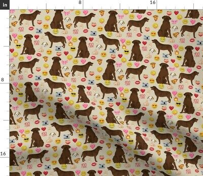Chocolate Lab Labrador Retriever Emoji Emojis Dog Spoonflower Fabric By The Yard • 9.32£