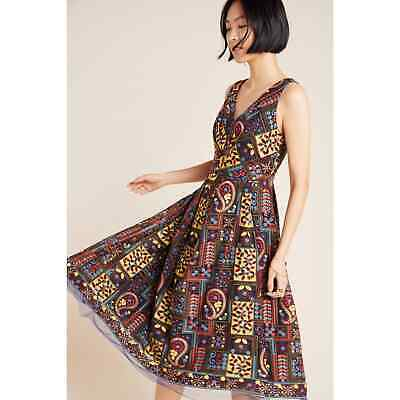 $ CDN97.61 • Buy New Anthropologie Cecily Embroidered Midi Dress By Eva Franco $250 SIZE 4 Navy