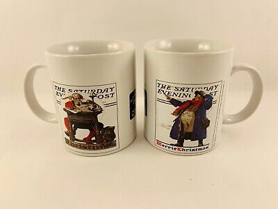 $ CDN15.22 • Buy Norman Rockwell The Saturday Evening Post 2 Merrie Christmas Cups / Mugs 2005
