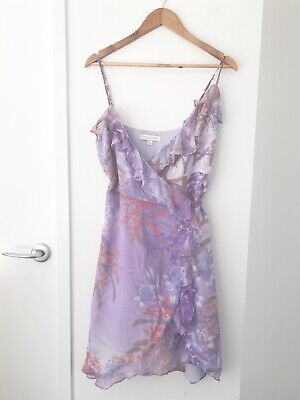 AU35 • Buy FOREVER NEW Size 10 Purple Floral 100% Silk Adjustable Straps Party Wrap Dress