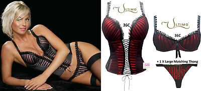 Ultimo Obsession Black/Red 3pcs Gel Padded Boned Basque, Bra & Thong Set 36C • 60£