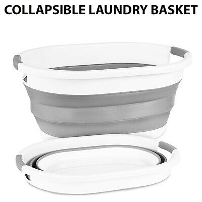 £11.99 • Buy Collapsible Laundry Basket Folding Silicone Cloth Washing Pop Up Storage Bin 22l