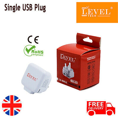 £3.50 • Buy LEVEL TECH 1 Port USB Charger /3 Pin UK Mains Wall Plug Adapter Mobile & Tablet