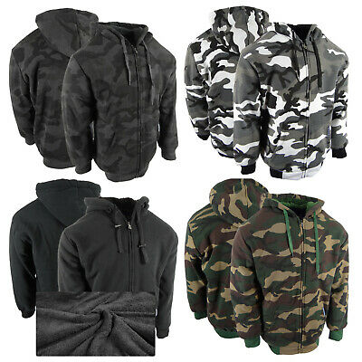 $27.95 • Buy Mens Plaid Flannel Hoodie Fully Quilted Lined Jacket Heavy Weight 4 Pocket