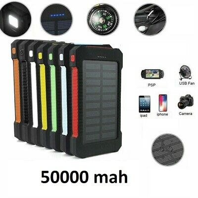 AU30.90 • Buy NEW 50000mah Solar Power Bank Portable External Battery Dual USB Phone Charger