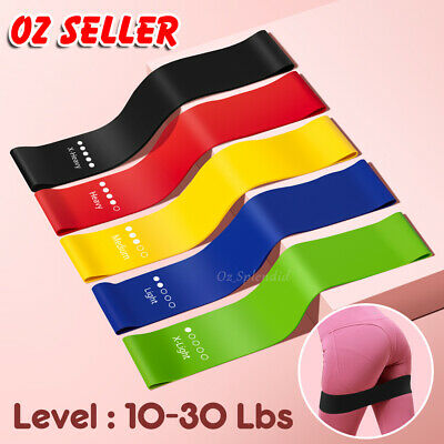 AU12.85 • Buy 5 Loop Resistance Booty Bands Set Gym Fitness Heavy Exercise Yoga Home Training