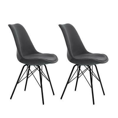 AU74.95 • Buy Artiss Set Of 2 Dining Chairs DSW Cafe Kitchen Velvet Fabric Padded Iron Legs Gr