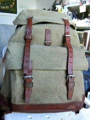 Vintage SWISS ARMY Military Leather Trim Salt & Pepper RUCKSACK/BACKPACK  2 • 141.15£