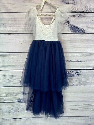 Bohemian Style Navy Blue Pretty High Low Tulle Flower Girl Party Occasion Dress • 29.99£