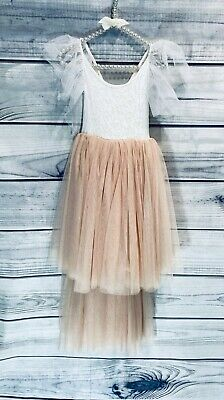 Bohemian Apricot Champagne High Low Tulle Flower Girl Party Occasion Dress • 34.99£