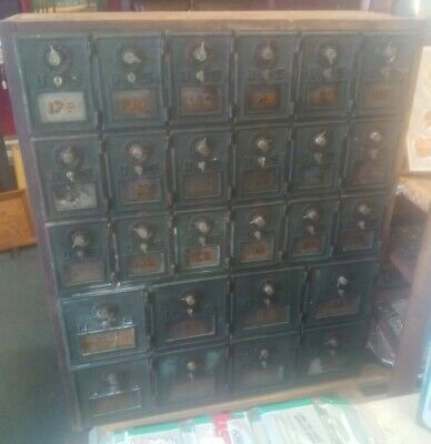 $1750 • Buy Early 1900 Lot 26 Brass & Wood POST OFFICE Mail Box Cabinet #s Combo DOVE Tail!!