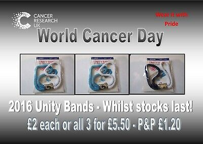 £2 • Buy Cancer Research 2016 World Cancer Day Unity Bands £2 Each All 3 For £5.50
