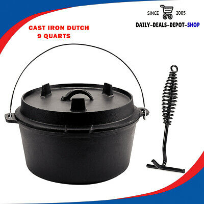 $ CDN113.36 • Buy Cast Iron Dutch Oven Lid With Handle, Pre Seasoned 9 Quart For Camping Outdoors