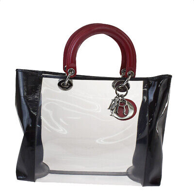 Authentic Christian Dior Lady Hand Bag Vinyl Patent Leather Black Red 31JC163 • 483.83£