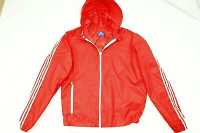 Authentic Vintage ADIDAS 80' Track Rain Jacket Hooded Red West Germany Size M • 29.99£