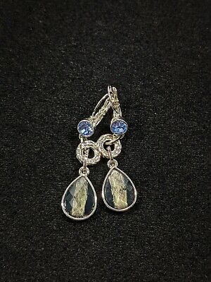 $ CDN11.78 • Buy Lia Sophia Silver Tone Blue Crystal Teardrop Dangle Earrings 12456