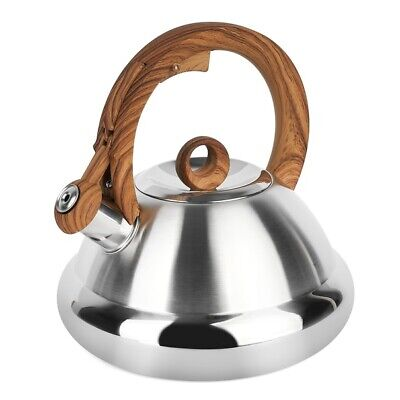 £26 • Buy Whistling Kettle 2.5 L Stove Top Induction Gas Ceramic Brown Silver Satin