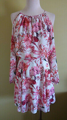 AU29.50 • Buy Forever New Cocktail Party Dress Long Sleeve Cold Shoulder Pink Floral Size 8