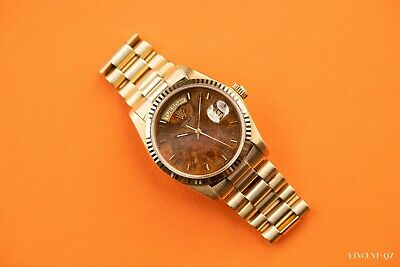 AU27999 • Buy ROLEX 18K Yellow Gold 36mm Day Date 18038 Original Factory Wood Dial