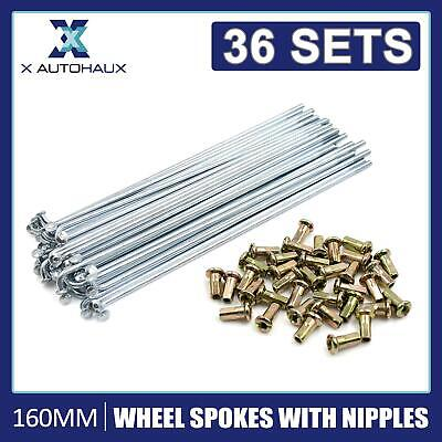 £16.99 • Buy 36 Sets Wheel Plated Spoke 160mm Length 3mm Thread Dia Nipples For Motorcycle