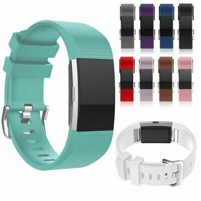 AU3.94 • Buy For FITBIT CHARGE 2 Silicone Strap Replacement Wrist Band Wristband Metal Buckle