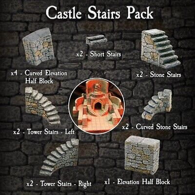 $ CDN215.09 • Buy Dwarven Forge PAINTED D&D 4-CASST-P Castle Stairs Pack City Terrain Cavern Tiles