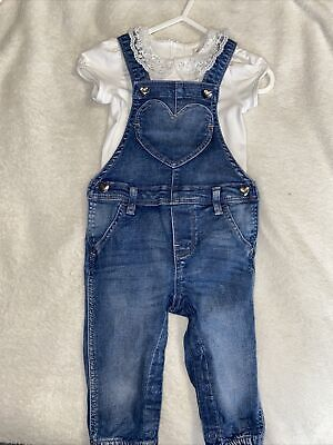 H&M Baby Girls Denim Dungarees And  Bodysuit Age 6-9 Months Excellent Condition • 3£