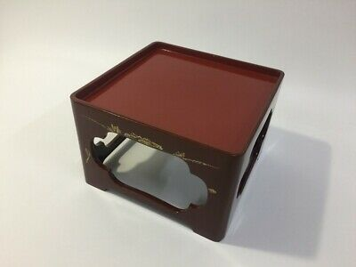 Japanese Wooden Lunch Table Vintage Tray Lacquer Ware Red Flower Square J430 • 28.60£