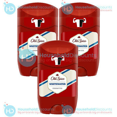 3 X Old Spice Whitewater Deodorant Roll On Stick 48h Protection Fresh Odour 50ml • 9.99£