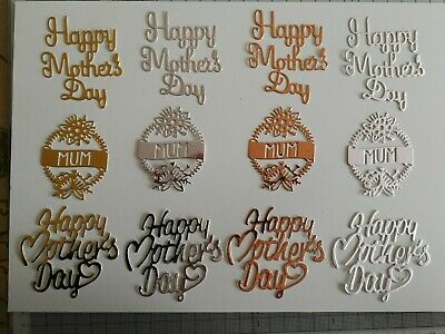 £2.99 • Buy Mothers Day, Mum Card Toppers (Gold & Silver) Craft Clearout
