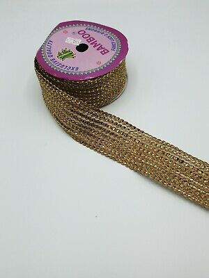 Antique Gold Sequnce Lace Border Sold 9mtr Roll. For Saris, Curtains, Suits Etc • 15£