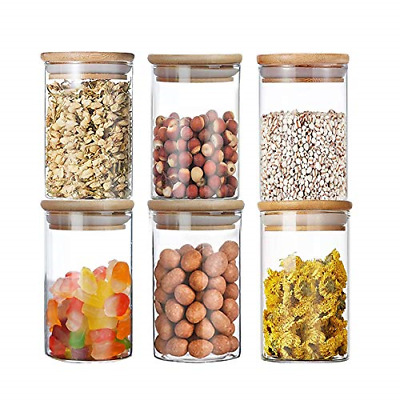 Glass Storage Jars Set, 300ML/10.5OZ Spice Jars With Bamboo Lids And Labels, For • 32.88£