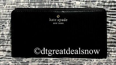 $ CDN75.74 • Buy NEW Kate Spade Schuyler Large Slim Bifold Wallet Black Smooth Leather Clutch
