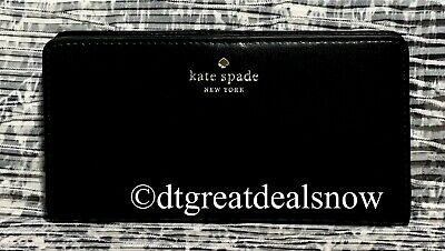 $ CDN75.63 • Buy NEW Kate Spade Schuyler Large Slim Bifold Wallet Black Smooth Leather Clutch