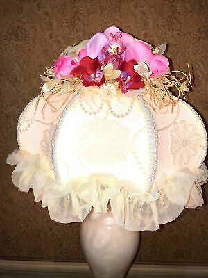 Vintage  Victorian Downton Abbey Traditional Cream Lace Beaded Orchid Lampshade  • 150£