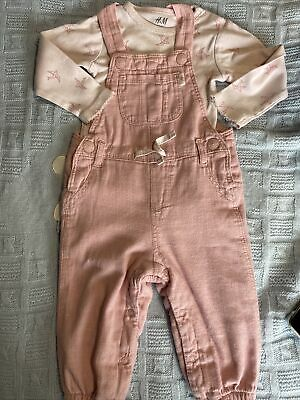 H&M Baby Girls Pink Dungarees And  Bodysuit Age 6-9 Months • 3£