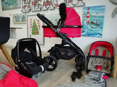 Icandy Peach 3 Sherbet Travel System Carrycot Maxi Cosi Black Chassis • 275£
