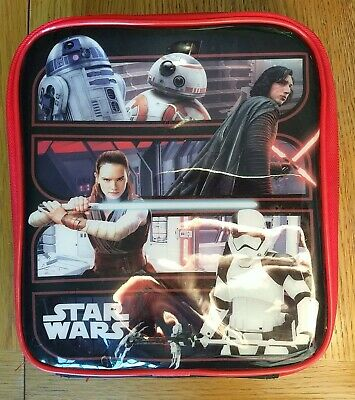 Character Kids Cushioned Lunch Bag Zip Fastening Star Wars Printed Carry Handle • 2.30£