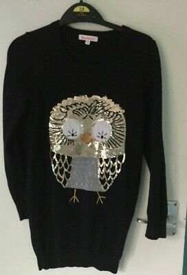 Childs Gorgeous Black Sweater With Owl Sequin Motif  Age  7-8 Used • 4£