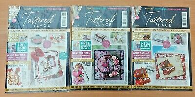 New 3 X Tattered Lace Magazine Issues 75 79 & 80 Plus Free Papers - No Dies  • 6.99£