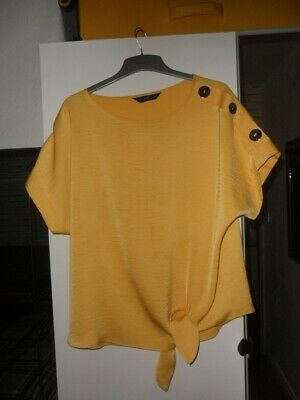 F&F Size 12 Mustard Top With Tie Front And Big Silver Button Shoulder Detail • 2.99£