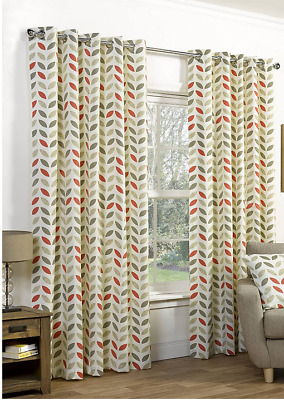 £17.99 • Buy RING TOP NEO MOCHA ORANGE  HEAVY FULLY LINED CURTAINS  DESIGN 66x54  INCHES
