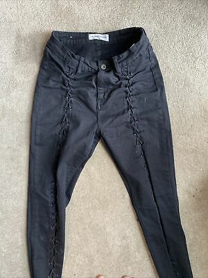 Black Lace Up Skinny Jeans Size L (fits Like A 10-12) Queen Hearts • 9£
