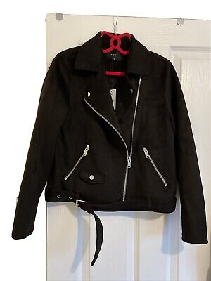 Ladies Matalan Black Suede Biker Jacket Size 14 • 5.10£