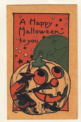 $ CDN195.39 • Buy Early VINTAGE EMBOSSED WITCHE - BLACK CAT-JOL-HALLOWEEN POSTCARD SIGNED WALL